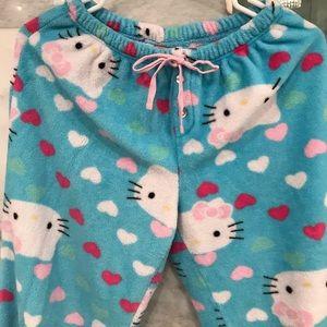 Hello Kitty 2 Piece Fleece Pajama Set Size Large